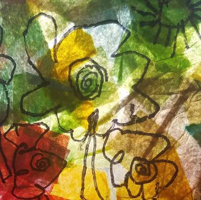 Handmade paper using tissue paper scraps