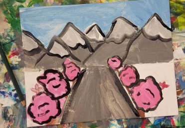 1 point perspective Pink Trees
