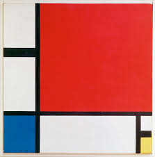 Mondrian composition with red, blue and yellow